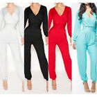 Womens Bodycon Sexy V-Neck Bandage Long Sleeve Jumpsuit Rompers Clubwear Dress
