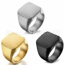 Polished Silver Stainless Steel Band Biker Men's Square Signet Ring Size 8-12