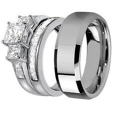 His Tungsten Hers 925 Sterling Silver 3 Pcs Princess Cut Wedding Bridal Ring Set