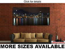 Wall Art Canvas Picture Print - Chicago Skyline at Night 2.1