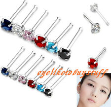 20ga Stainless Steel CZ Crystal Gem Nose Ring Prong Barbell Stud Body Piercing