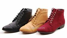 NEW Womens Ankle High Top Lace Up Oxford Flats Boots Fux Suede Black Shoes