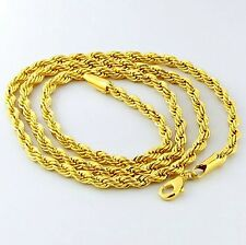 "3mm ROPE – PVD BONDED 18K GOLD - 18, 20, 24, 32"" MEN'S & WOMAN'S Chain NECKLACE"
