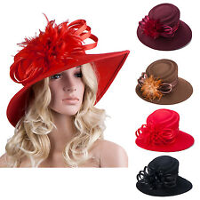 Womens Ladies Wedding Formal Church Felt Wool Floppy Race Wide Brim Hat A256