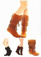 New Womens Cute Mid Calf Faux Suede Fringe Tassle Flat Moccasin Dress Boots