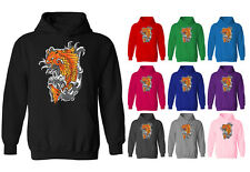 Womens Koi Carp Fish Tattoo Style Japanese Pullover Hoodie NEW UK 12-20