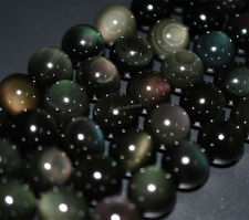 AAA rainbow flash obsidian round loose beads strands 15 to 15.5 inches