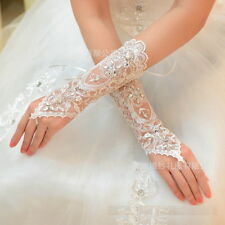 New Crystal lace BRIDAL glove WEDDING PROM PARTY COSTUME LONG GLOVES Fingerless