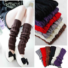 Lady Winter Knit Long High Boot Socks Knee Knitted Crochet Leg Warmers In Stock