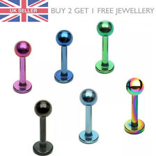 Titanium Anodized Labret Lip Helix Stud Tragus Bar - Choose Size and Colour - UK