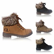 LADIES FAUX FUR GRIP SOLE WINTER WARM ANKLE WOMENS BOOTS TRAINERS SHOES SIZE 3-8
