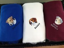 Embroidered Personalized Akc Dog Breed Fleece Throw Lap Blankets (Breeds A - C)