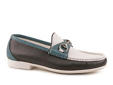 Gucci men's three tone leather loafers shoes Black White Green Made in Italy