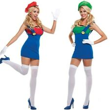 Sexy Womens Super Mario Luigi Brothers Costume Cosplay Party Fancy Dress