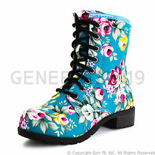 Brand New Womens Four Season Lace up Floral Mid Knee Boots - Turquoise (Adults)