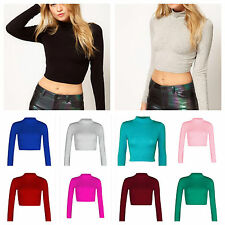 NEW WOMENS TURTLE NECK CROP LADIES LONG SLEEVE PLAIN POLO SHORT STRETCH TOP 8-14
