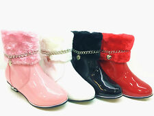 girls children kids ankle boots laced up patent leather casual booty shoes