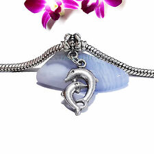 Silver Tone 3D Mom Baby Dolphin Slide Clip Dangle Charm fit Euro Bracelet Bangle