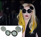 Unisex Fashion Retro LadyGaga Mickey Mouse Flip Up Round Sunglasses Shade