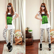 Retro Chinese Floral Printed Women's Leggings Stretchy Lady Ninth Pants Fashion