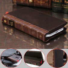 Retro Genuine Leather Flip Wallet Card Stand Cover Case For Samsung Galaxy Phone