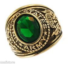 Army Emerald Green Stone US Military Gold EP Ring