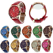 Geneva Roman Numerals Faux Leather Analog Quartz Watch Women Watches Wrist Watch