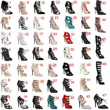 Womens Ladies Lace Up Strappy Cut Out Stiletto High Heel Sandals Shoes Size