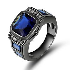 Jewelry Sz 8-11 Mens Black Stainless Steel Blue Sapphire Wedding Engagemet Ring