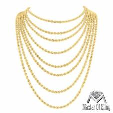 1/10K Gold Rope Necklace 1/10th Mens Ladies 2.5 MM Hollow Chain 16-30 Inches New