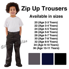 Boys School Trousers Age 2 3 4 5 6 7 8 9 10 11 12 13 Zip Up Black Grey Navy