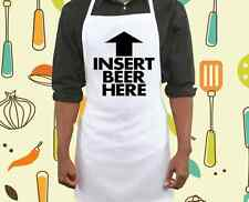 Insert Beer Here White Apron BBQ Barbecue Baking Novelty Kitchen Gift Present