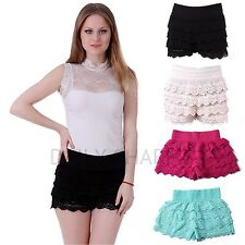 Women's Sexy Boho Fashion Fitted Scallop Tiered Crochet Lace Summer Mini Shorts