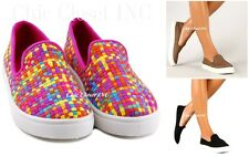 Womens Low Flat Heels Color Fashion Sneakers Slip On Canvas Black Woven Shoes