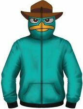 Adult Phineas and Ferb Perry the Platypus Turquoise Hoodie Zip Up Sweatshirt