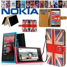Flip Stand Card Wallet Leather Cover Case Pouch For Various Nokia Lumia Phones