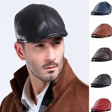 Men's Black Leather Sheepskin Leather Peaked Flat Cap Gatsby Newsboy Driving Hat