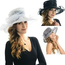 Lady floral organza Hat removable formal/vacation wedding church Party Dress hat