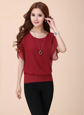 Fashion Women Ladies Batwing Sleeve T-shirt Chiffon Loose Casual Tops Blouse NEW