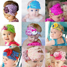 Cute Baby Girl Kids Infant Feather Headband Hair Band Flower Toddler Headwear US