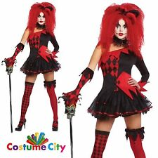 Women's Halloween Jesterina Jester Costume & Wig Circus Clown Fancy Dress Party