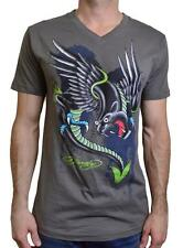 NEW ED HARDY PANTHER THE BEAST MEN'S SHORT SLEEVE V NECK T-SHIRT CHARCOAL TEE