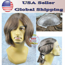 Toupee Mens European Remy Human Hairpiece Poly Skin Replacement Euro Injection