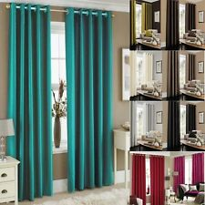 Eyelet Faux Silk Fully Lined Ready Made Curtains Pair Tie Backs Luxury Ring Top