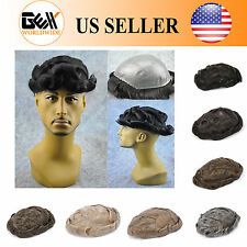 62 Color Medium Density Skin Mens Hair Piece Toupee Poly Base Replacement System