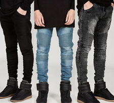 Mens Long Skinny Leisure Slim Fit Washed Pleated Denim Pant Trousers Biker Jeans