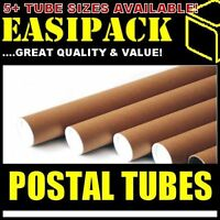 "5 x A1 Postal Cardboard Poster Tubes 50.8 x 640mm (2"" x 25"") + End Caps"