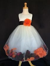 Ivory Flower Girl Bridesmaids Fall Wedding Toddler Girl Mixed Petal Dress #0043