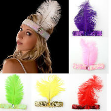 Great Feather Headband Flapper Sequin Costume Hair Band Headpiece Fancy Dancing