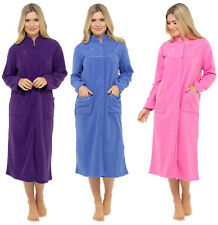 New Womens Fleece Pink Purple Blue Long Dressing Gown Robe Button Front Size